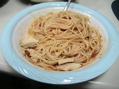 spaghetti and canned tuna