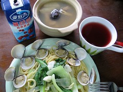 clams, vegetables, butter, noodles, chicken mushroom soup, cranberry juice