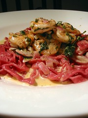 Beetroot Fettucini with Prawns in Creamy Peccorino Sauce