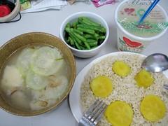 miso soup, sweet potatoes, vegetables, lemon juice, rice