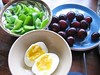 grapes, vegetables, egg