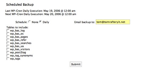 Scheduling WordPress backups