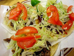 2 carne asada & 1 chorizo tacos