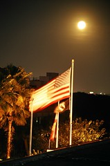 Moon over the American flag