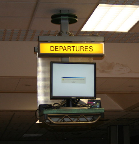 Windows has departed! A departures screen in Cork Airport displaying a Windows error message
