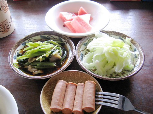 vegetables, vienna sausages, watermelons- home cooked meal