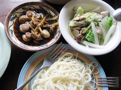 mushrooms, vegetables, garlic noodles