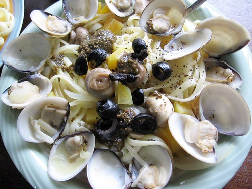 clams, mushrooms, olives and pasta