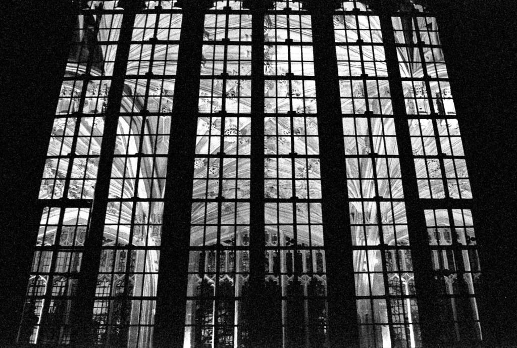 Bodleian window at night