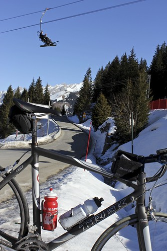 A Bike and some Skiers