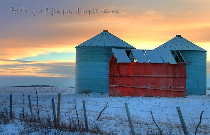 Sunset Grain Bins