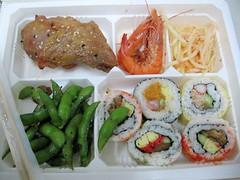 chicken, sushi roll, shrimp