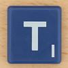 Scrabble White Letter on Blue T