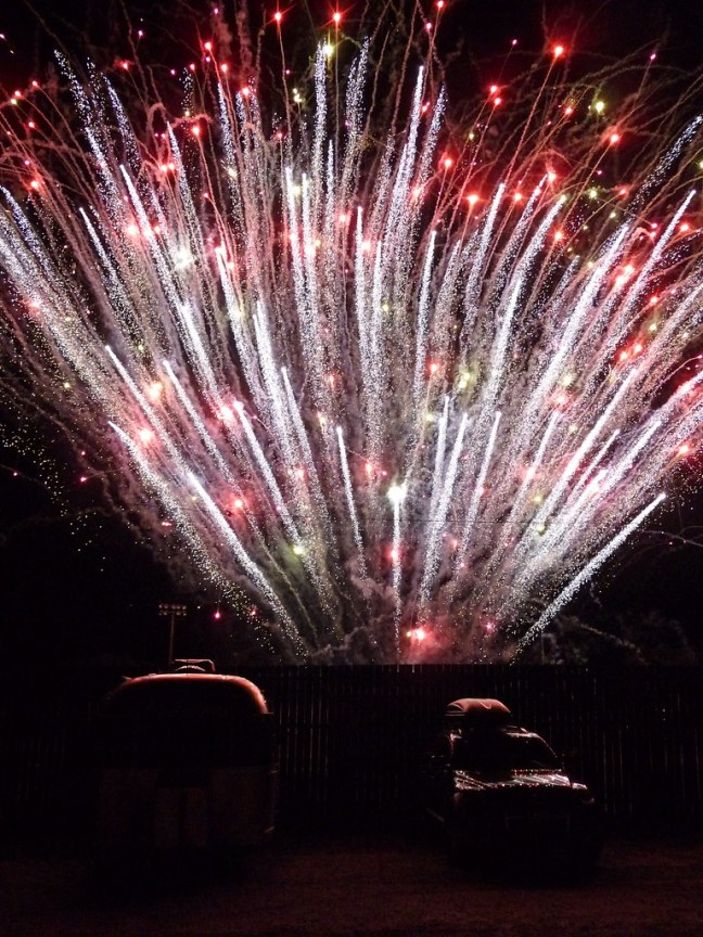 Fireworks feet away from my site at Mariposa Fairgrounds