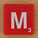 Scrabble White Letter on Red M