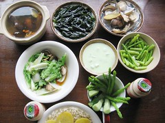 vegetables, rice, clams, sweet potatoes, Yakult, yogurt