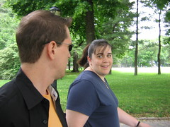 Karen and Patrick chat in Central Park