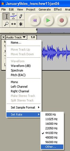 Audacity_Set Rate