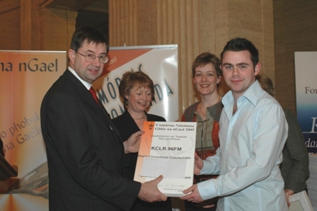 Collecting radio award in Belfast