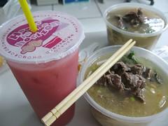 vietnamese noodles and watermelon juice