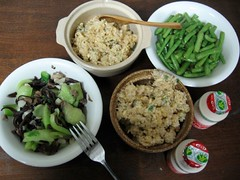 vegetables, crab fried rice (canned crab), Yakult