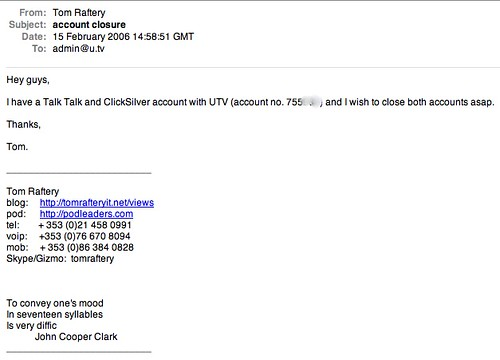 Email to the incompetents at UTV Internet