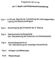 Tagesordnung der 7. Sport und Kulturausschusssitzung