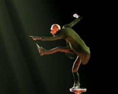 Escena de Proog bailando en el vacío