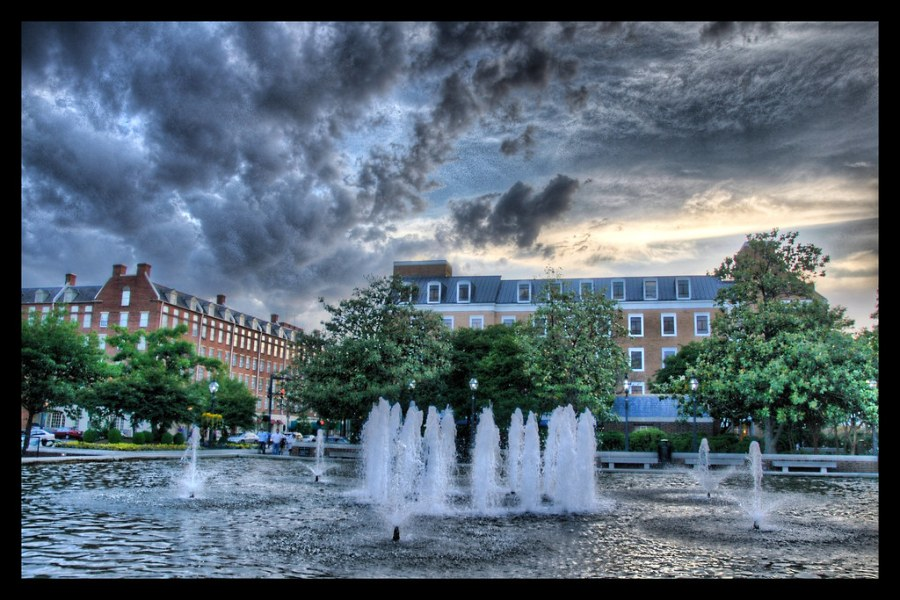Rain Approaching the Town Square