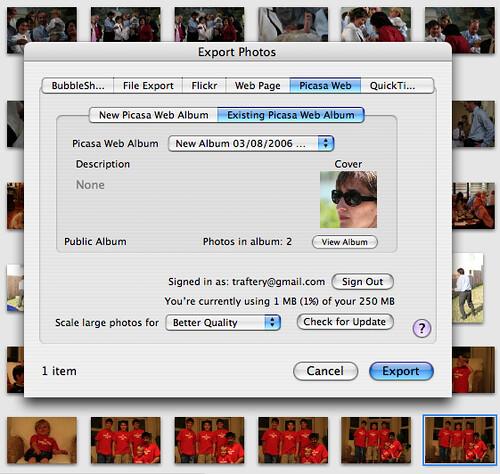 Picasa iPhoto plugin