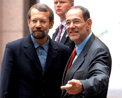 EU for pol chief Solana and Iran's nuclear negotiator Larijani in Brussels 11 Jul 2006