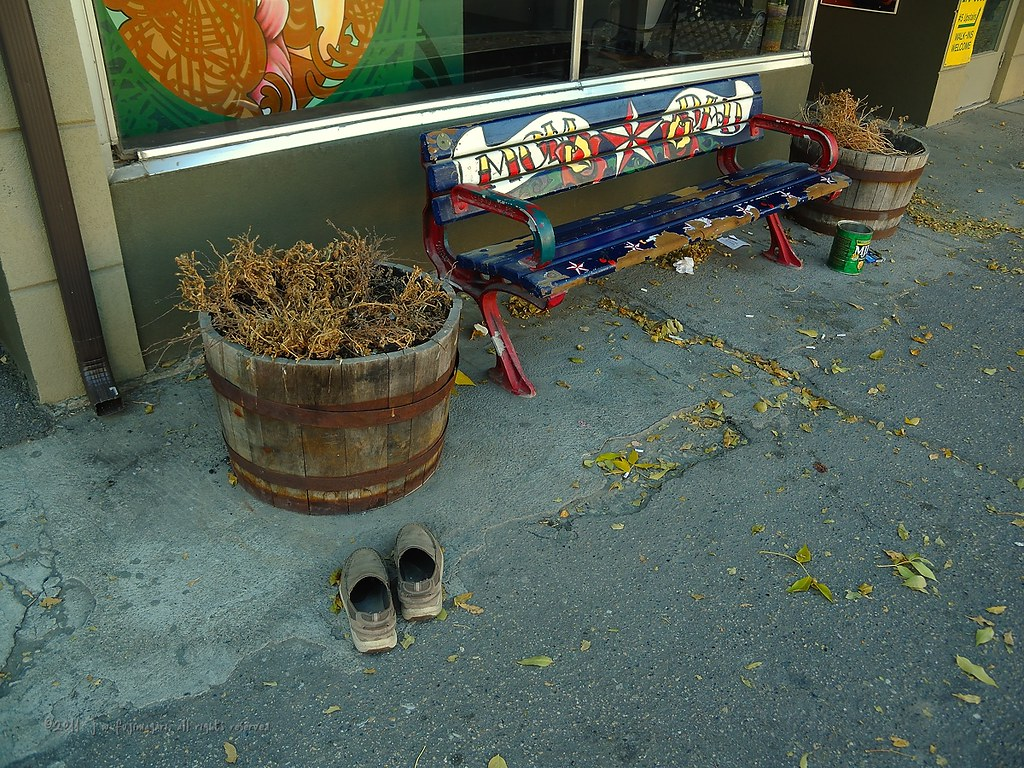 Shoes, Barrel, Bench