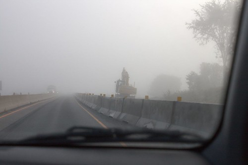 Foggy Morning for Construction