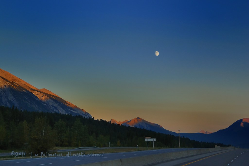 Waxing Gibbous Moon Over The Bow Valley