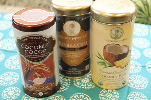Tea, Coconut Cocoa, Vanilla Chai Black, Coconut Rum Green Tea