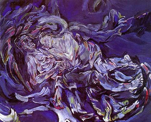 in bed, woman asleep, man wondering in swirl