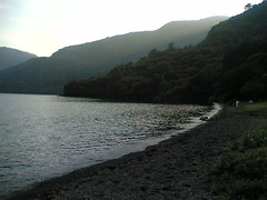 Ashinoko Camp Mura lakeside view at dawn