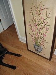 in my life: afternoon ~ newly purchased crewelwork panel