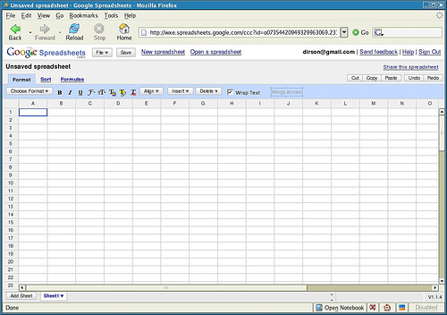 Captura de pantalla de Google Spreadsheets