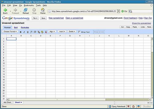 Captura de pantalla de Google Spreadsheets
