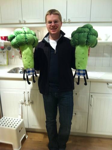 Mack with broccoli friends