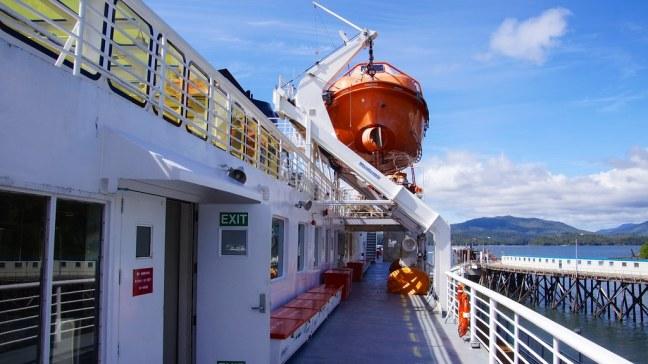 Massive lifeboats on Matanuska