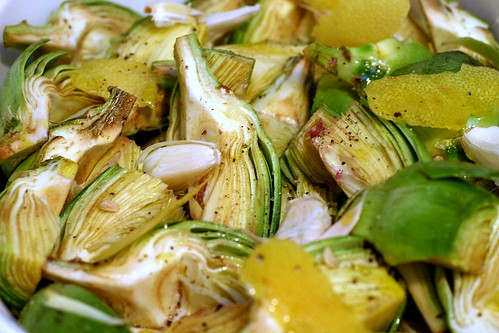 quartered artichokes