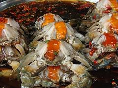 Cangrejos en restaurante chino.