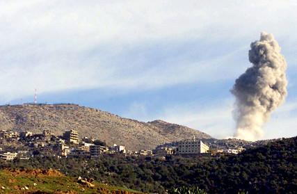 Smoke rises from Shebaa Farms as Israeli warplanes attack Jan 9 2005