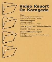Sampul katalog proyek Video Report on Kotagede yang dikerjakan oleh Greenmapper Jogja (Komunitas Peta Hijau Yogyakarta) sejak awal tahun 2006.