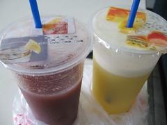 grape juice and grapefruit + pineapple juice
