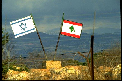 Israeli and Lebanese flags