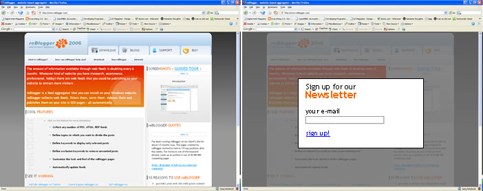 Darken the page and set focus on the user input