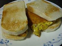 Egg and Leftover-Cheese & Chilli Flakes Sandwich